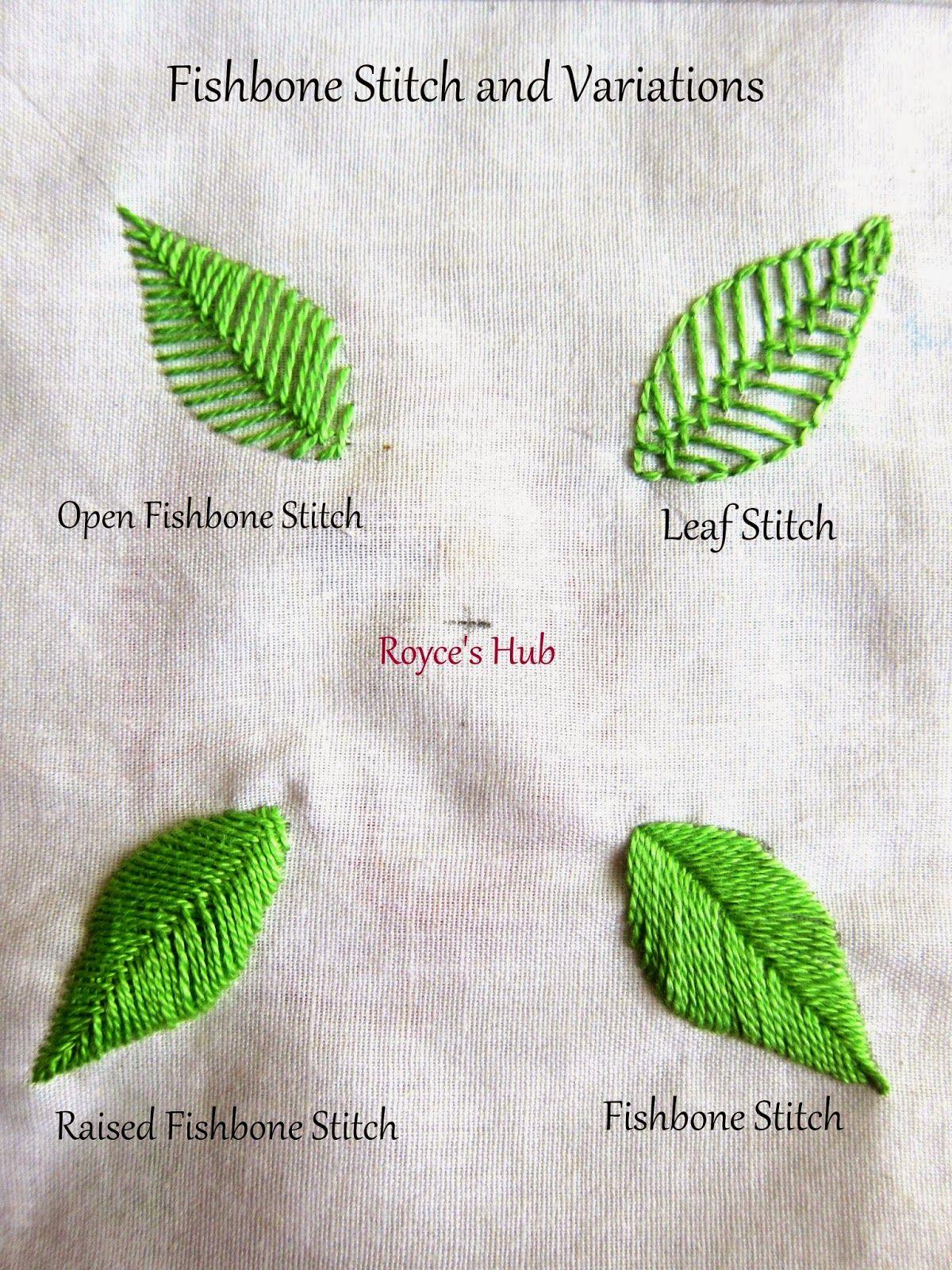 Leaf Stitch Tutorial : stitch, tutorial, Royce's, Embroidery, Stitches, Leaves, Fishbone, Stitch, Variations, Tutorial,, Leaf,