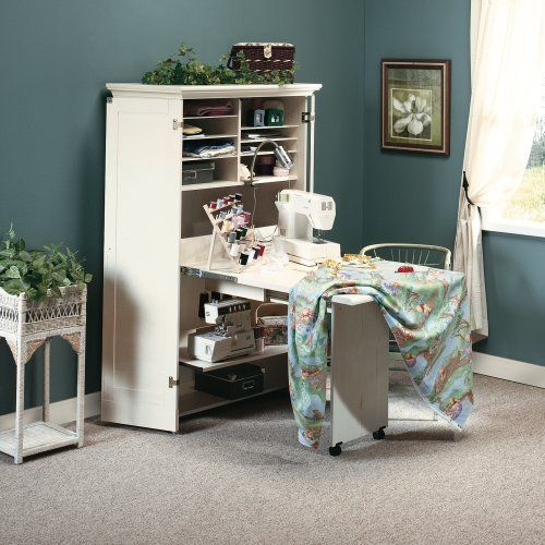 Merveilleux Craft / Sewing Machine Cabinet Storage Armoire Organizer Drop Leaf Table    Shipping Center Paper /