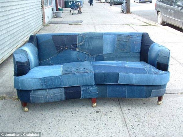 This Couch Made From Jeans Will Only Set You Back 3 995 On Craigslist Denim Sofa Denim Furniture Denim Couch