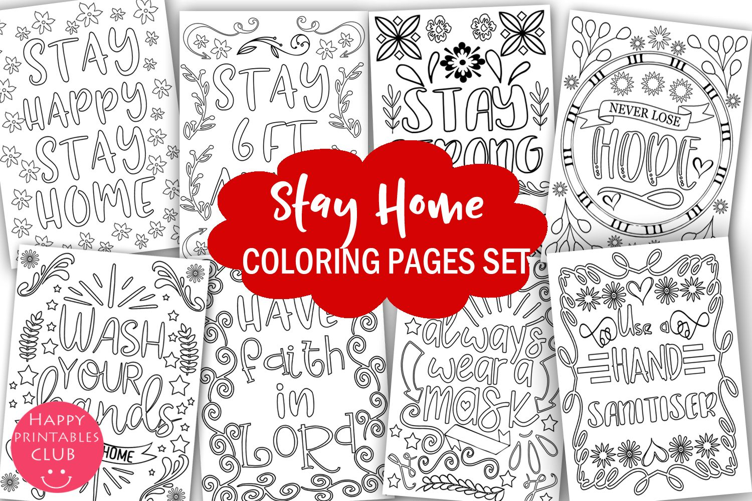 Stay Home Coloring Pages Graphic By Happy Printables