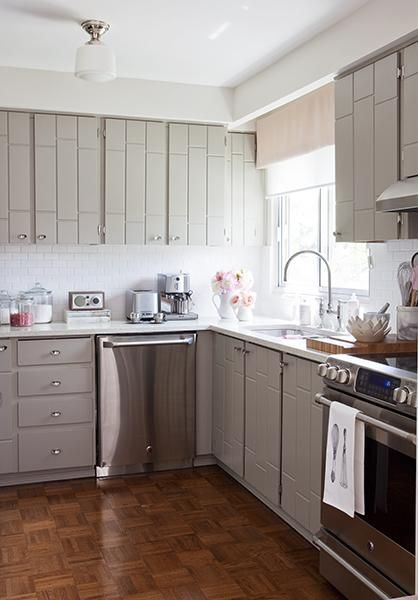 Kitchens   Gray Kitchen Cabinets White Subway Tiles Backsplash Schoolhouse  Pendant Chrome Fixtures Parquet Wood Floors Gray Walls Paint Color  Stainless ...
