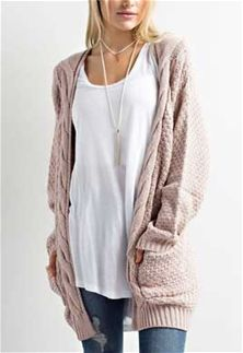 d7471f7cce5951 Wishlist Clothing Cable Knit Cardigan Sweater for Women in Twig ...