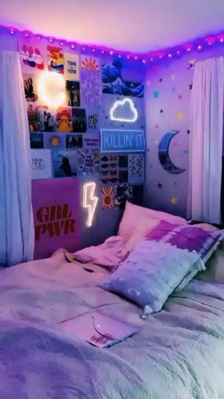 Tik Tok Room Aesthetic Room Inspiration Bedroom Neon Room Indie Room
