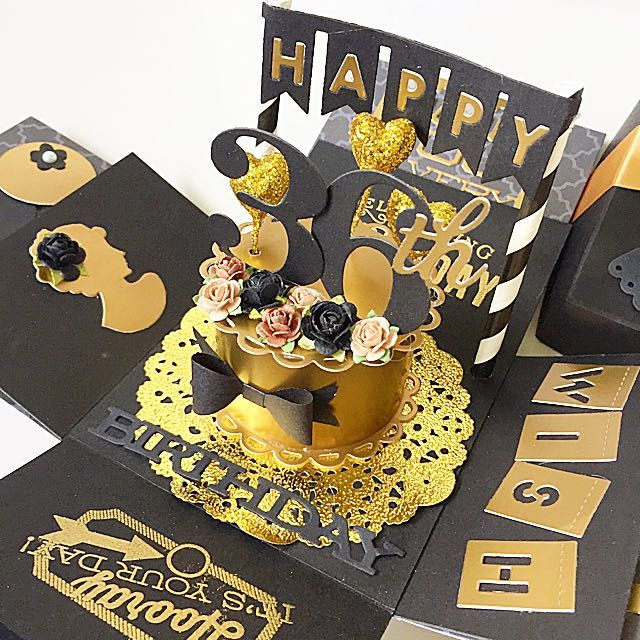 Happy 36th Birthday Explosion Boxcard In Gold And Black On