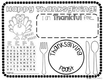 Thanksgiving Placemat Thanksgiving Words Thanksgiving Word Search Thanksgiving Placemats