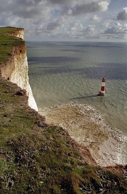 Beachy Head with the lighthouse. Sussex England