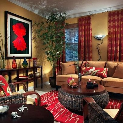 Tan Red With Dark Wood And Rattan Accent Pieces Red Home Decor Living Room Red Tan Living Room