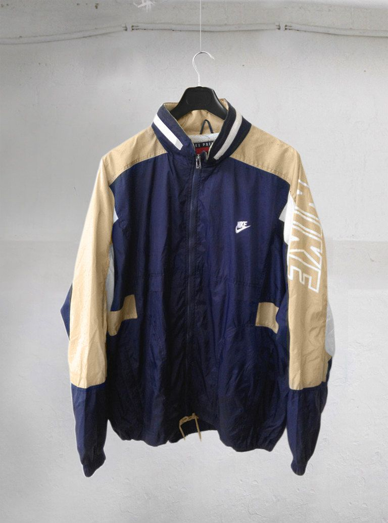 Vintage Casual 90u0026#39;s NIKE Premier Swoosh Big Logo Streetwear Windbreaker Sweater Blue Light Beige ...