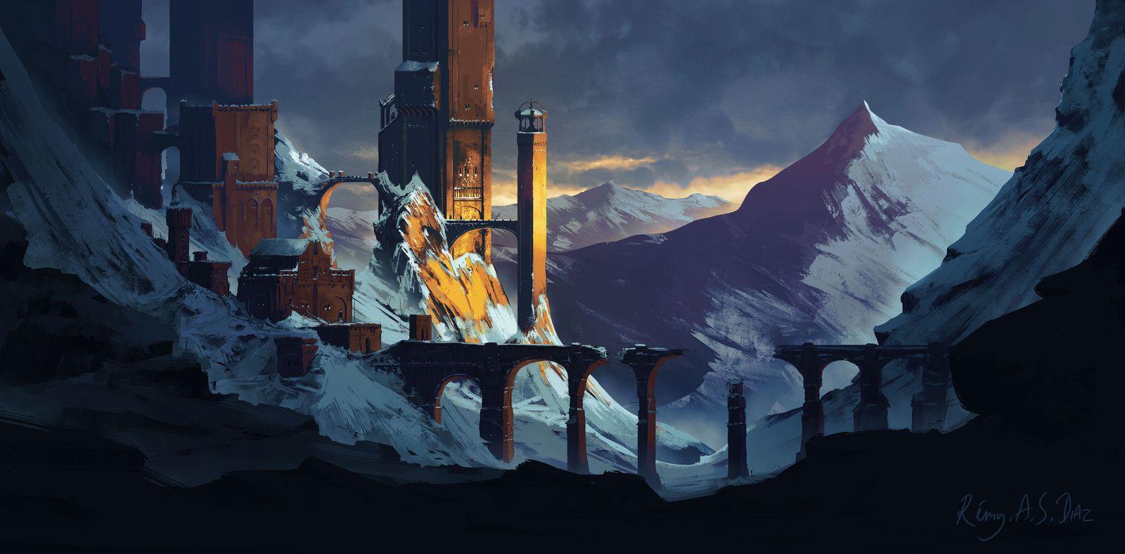 Fantasy Castle in Snow, Rémy A. S. Diaz on ArtStation at https://www.artstation.com/artwork/6x4a5