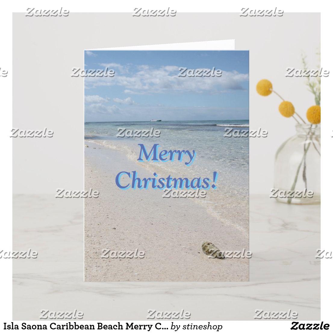 Isla Saona karibischer Strand-frohe Weihnachten! Feiertagskarte | Zazzle.de