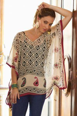 Kasbah Top - Ladies Print Top, Paisley Top, Drawstring Adjustable Top   Soft Surroundings