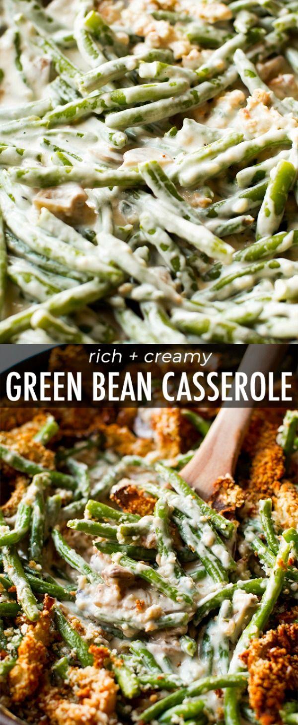 Creamy, comforting green bean casserole made completely from scratch! It's easy. Recipe on sallysbakingaddiction.com #greenbean