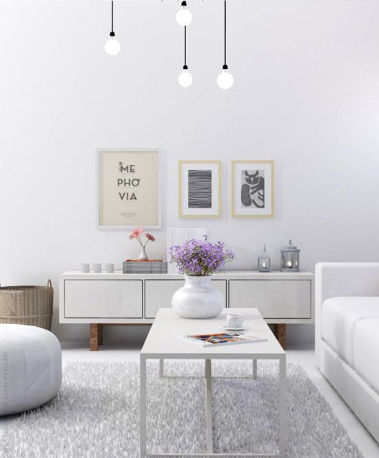 Stockholm TV bench in glossy white | White living room visualization | My Paradissi © Eleni Psyllaki