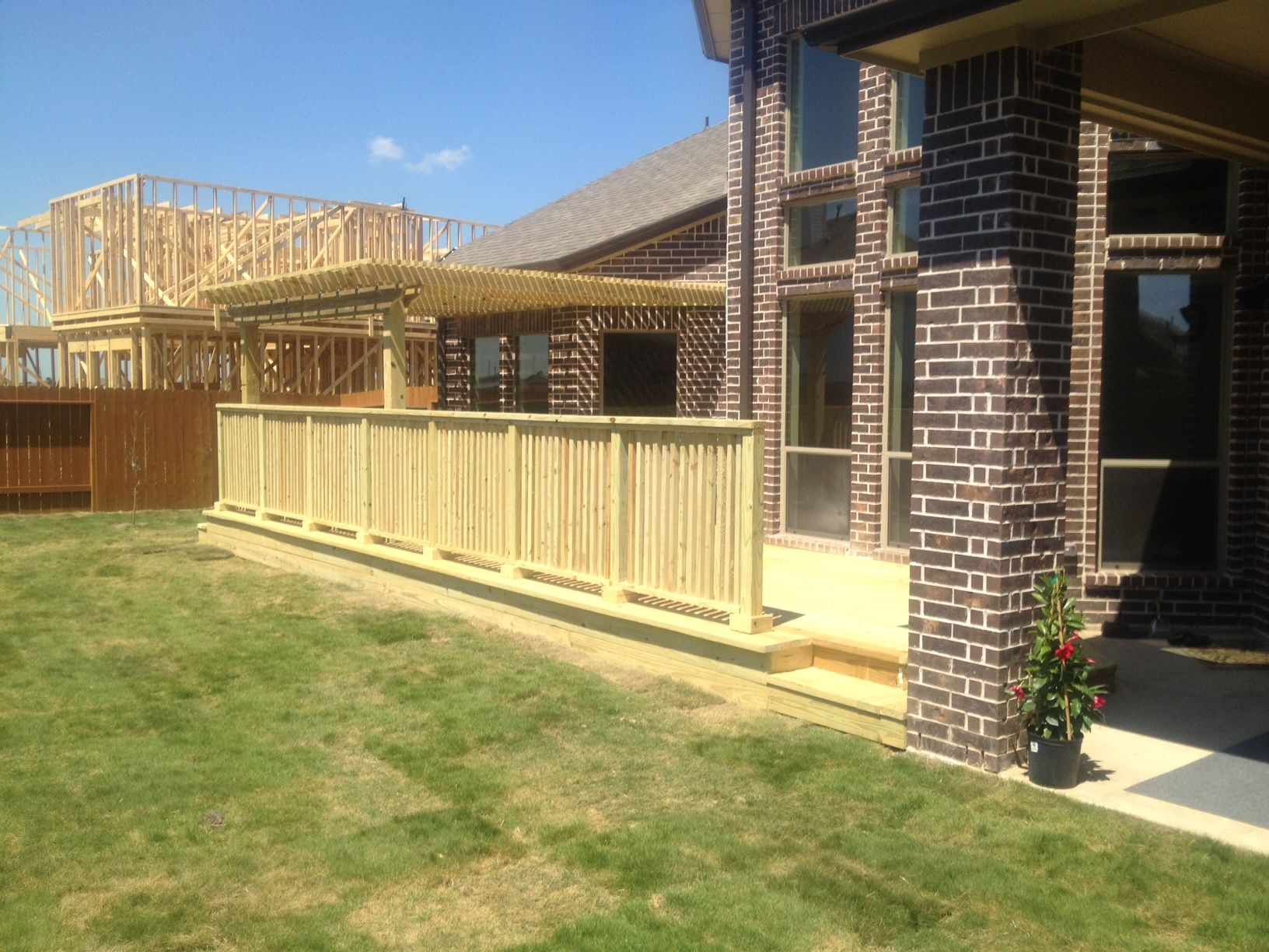 Houston Tx deck, wood railing, arbor, pergola, patio