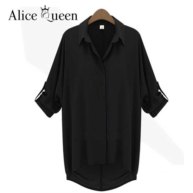 Alice Queen 4XL 5XL 6XL Women Blouses Summer Ladies Tops Chiffon Blouse 2016 Fashion Long Sleeve Plus Size Women Clothing