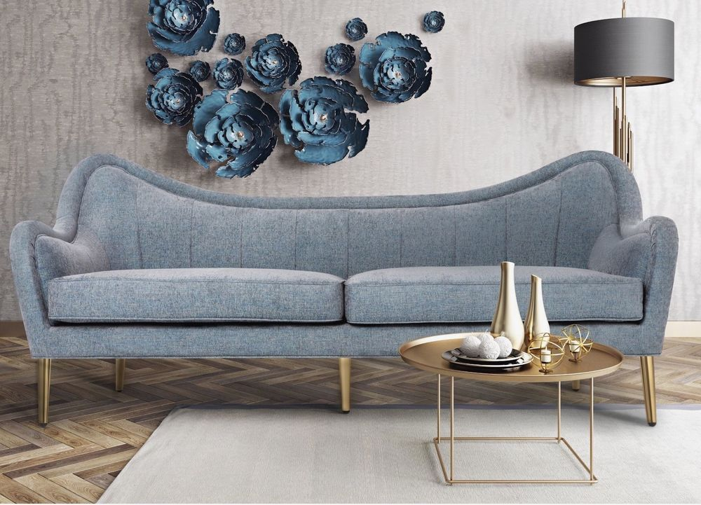 Curved Luxe Gray Linen Gold Legs Mid Century Modern Glam Sofa Settee New Na Transitional Glam Sofas Mid Century Modern Mid Century Modern Sofa