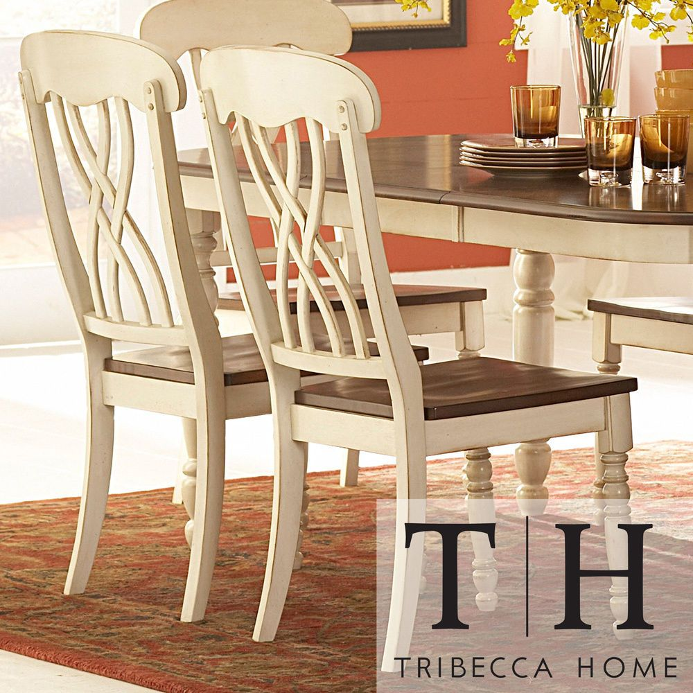 Country Antique White Side Dining Room Kitchen Chair Set of