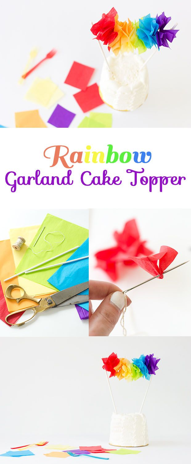 This #DIY rainbow cake topper is currently our favorite thing! Perfect for St. Patty's and Cinco de Mayo!