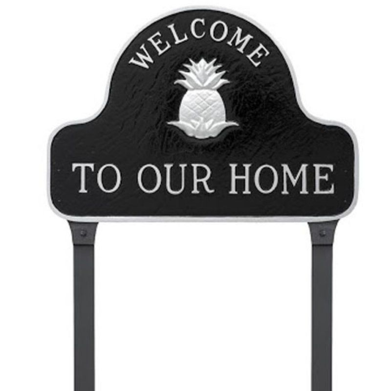 Montague Metal Products Pineapple Welcome to Our Home Lawn Plaque - SP-48-BS-LS