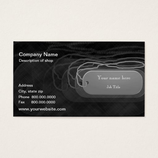 Dog Tag Template Business Card