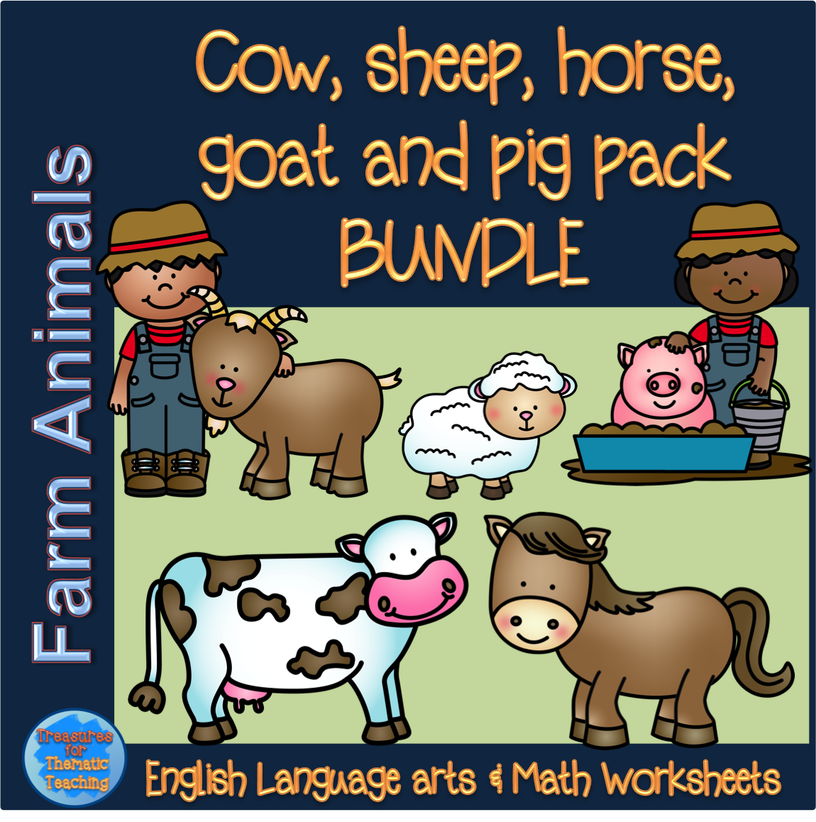 Farm Theme Farm Animals Bundle Pig Cow Goat Horse And