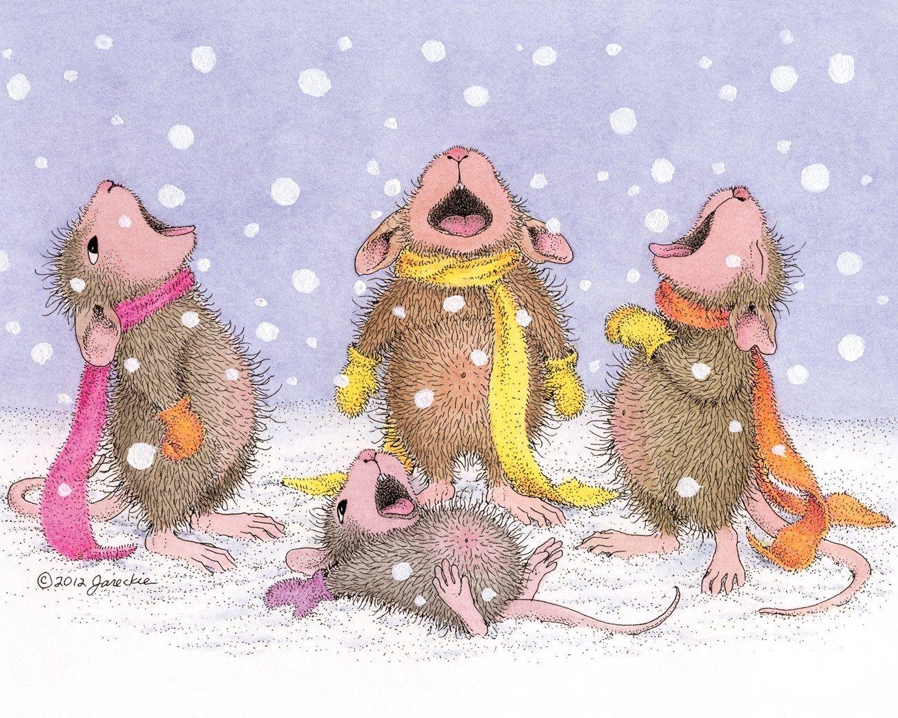 Картинки веселые мышки зимой