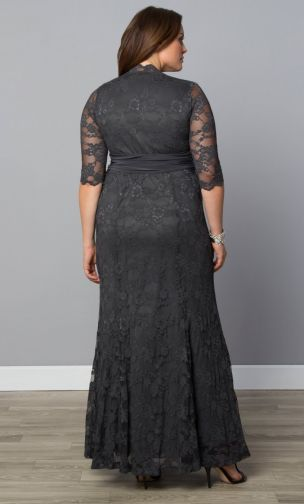 Curvalicious Clothes :: Plus Size Dresses :: Screen Siren Lace Gown - Twilight Grey
