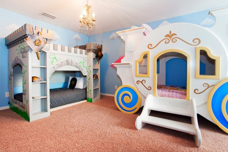 Castle Princess Themed Bunk Beds Boy And Girl Shared Room Disney Rooms Disney Bedrooms