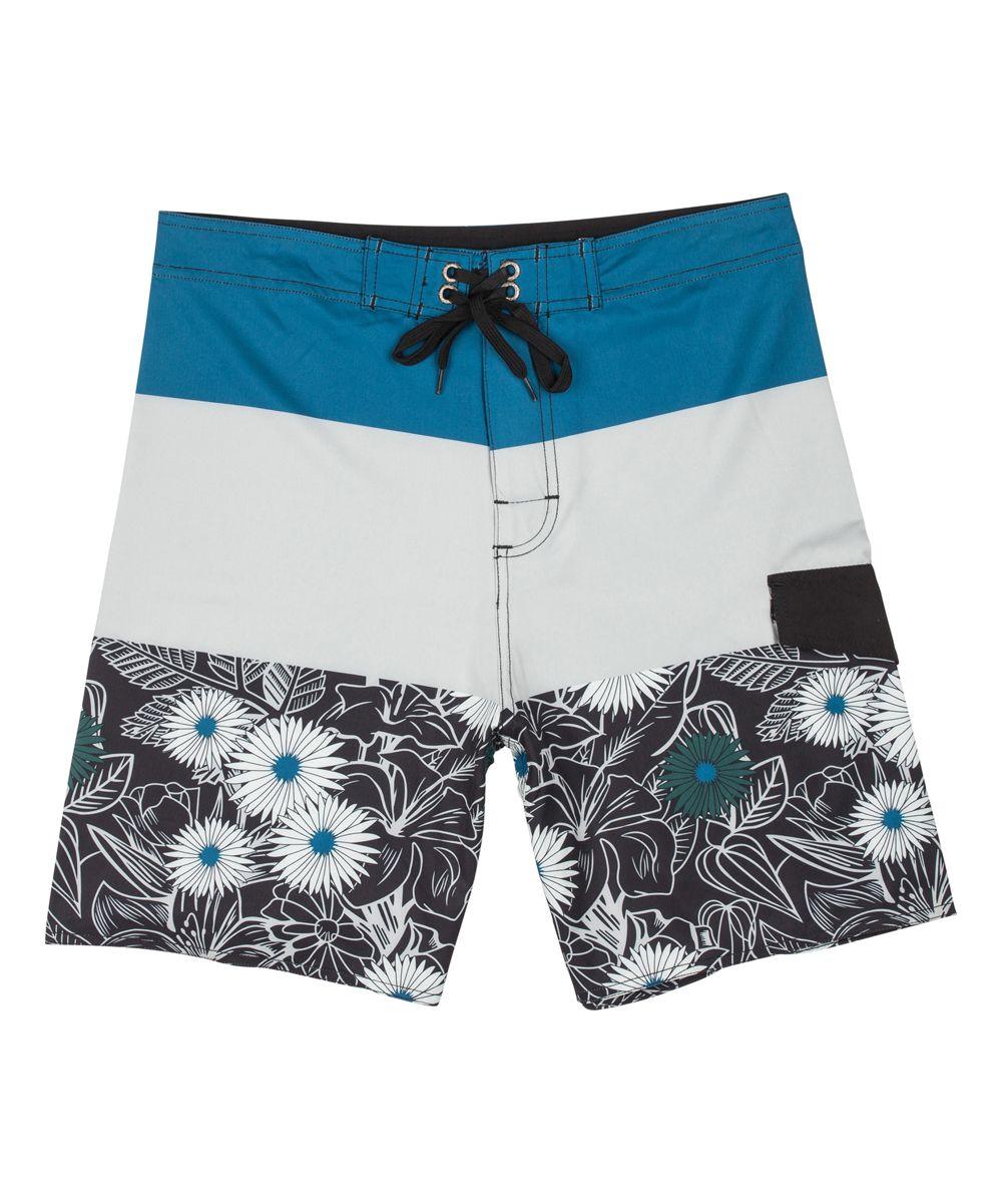 Blue Floral-Trim Boardshorts - Men\'s Regular   Products   Pinterest
