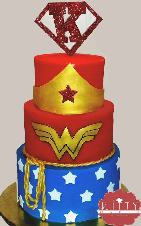 Wonder woman cake with custom Super K topper | Wonder ...