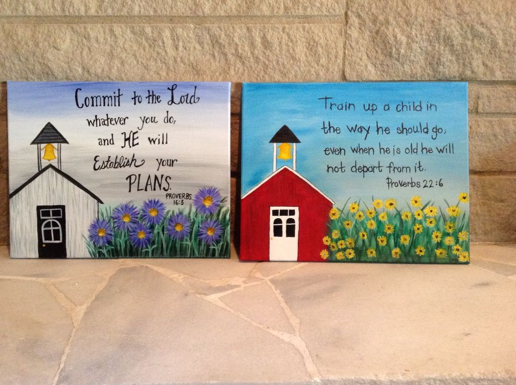 Create your own canvas painting. Schoolhouse with scripture for homeschool event.