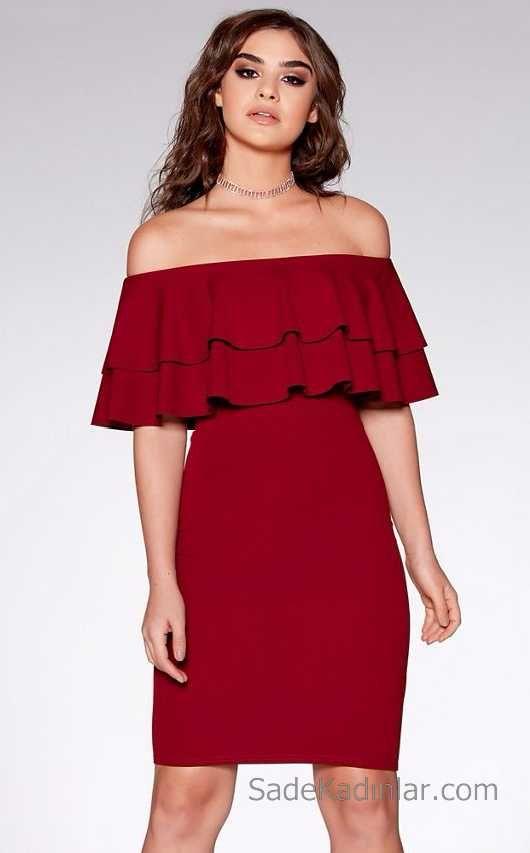 2021 Kirmizi Abiye Elbise Modelleri Cekiciligin Adresikirmizi Elbise Cift Firfirli Omzu Acik Vucudu Saran Kisa Elbise Kadin Kiyafetleri Elbise Modelleri Elbise