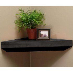 Corner Shelves Black Floating