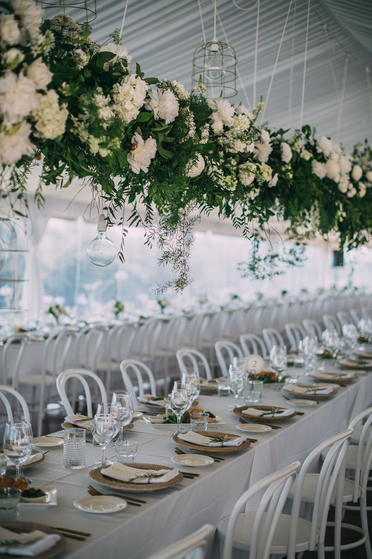 Wedding Reception White Bentwood Chairs Hanging Florals