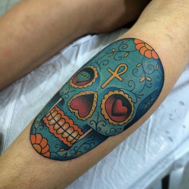 Caveira mexicana do Eduardo! Obrigado pela confiança mais uma vez!  #tattoo #tatuagem #tattoo2me ...