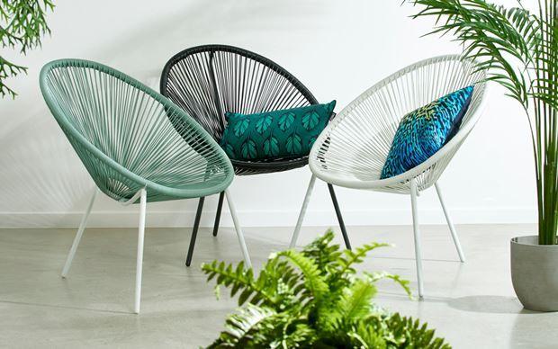 Acapulco lounge stoel wit groen h b d cm outdoor