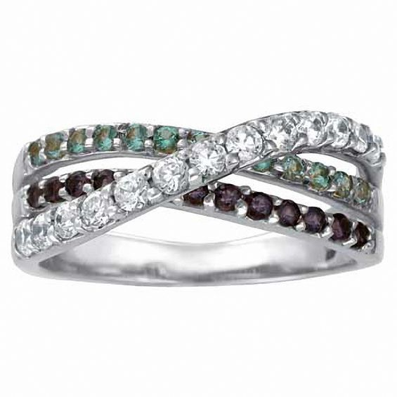 Sterling Silver Simulated Birthstone Shimmer Wrap Band By