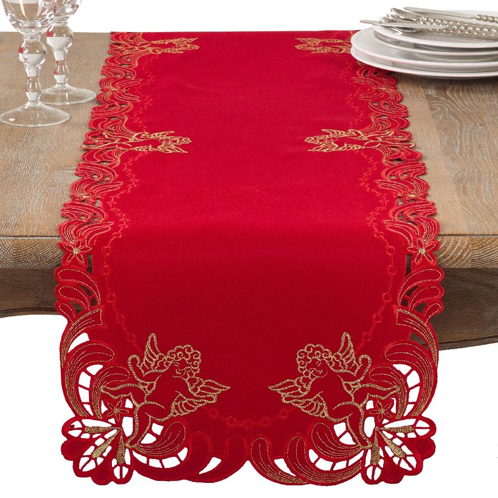 Embroidered Angel Cherub Design Christmas Table Runner Saro Lifestyle 412 R1672b In 2020 Holiday Table Runner Embroidered Table Runner Christmas Table Runner