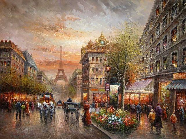 Oil painting Paris street scene in sunset landscape with carriage canvas