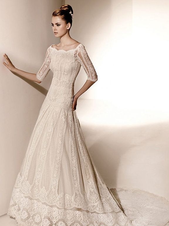 Valentino For Pronovias Elegant Slim A Line Wedding Dress Wdvs012 Lace Wedding Dress With Sleeves Wedding Dress Necklines Valentino Bridal