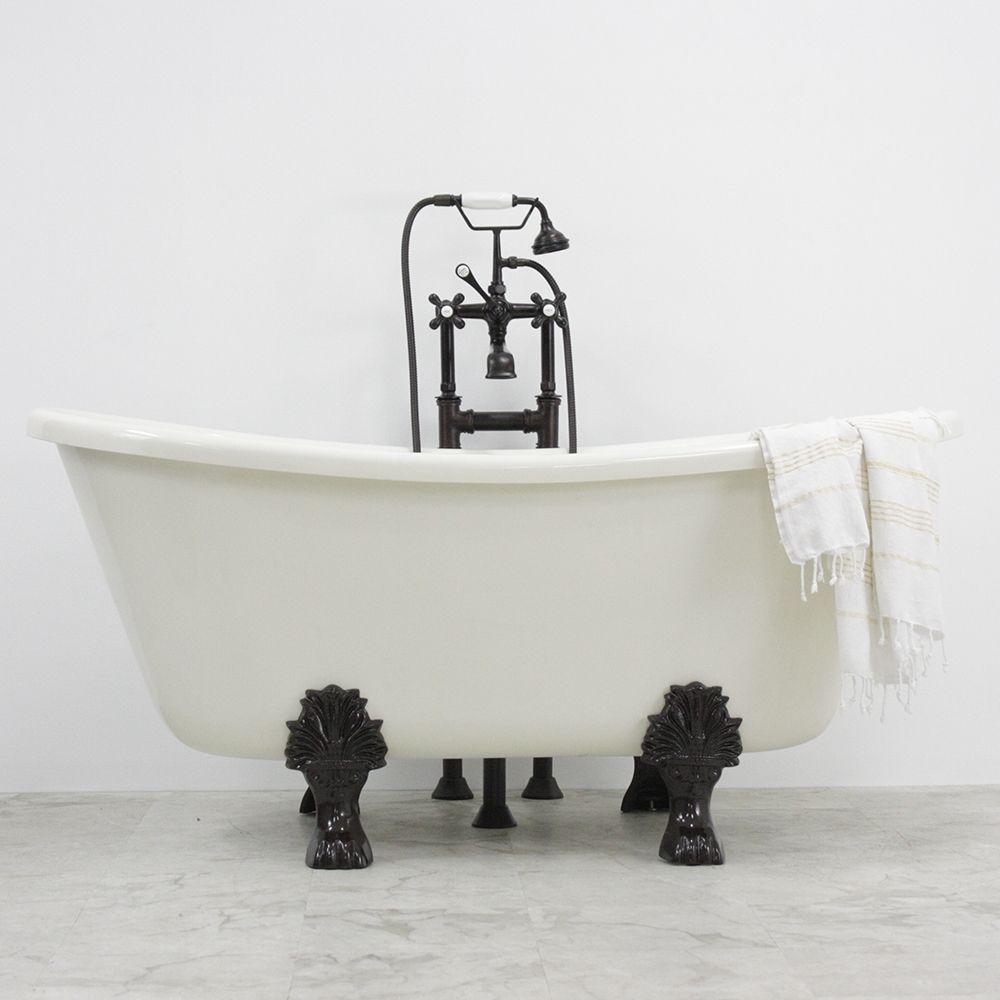 Ottaviou coreacryl biscuit bisque acrylic french bateau clawfoot tub