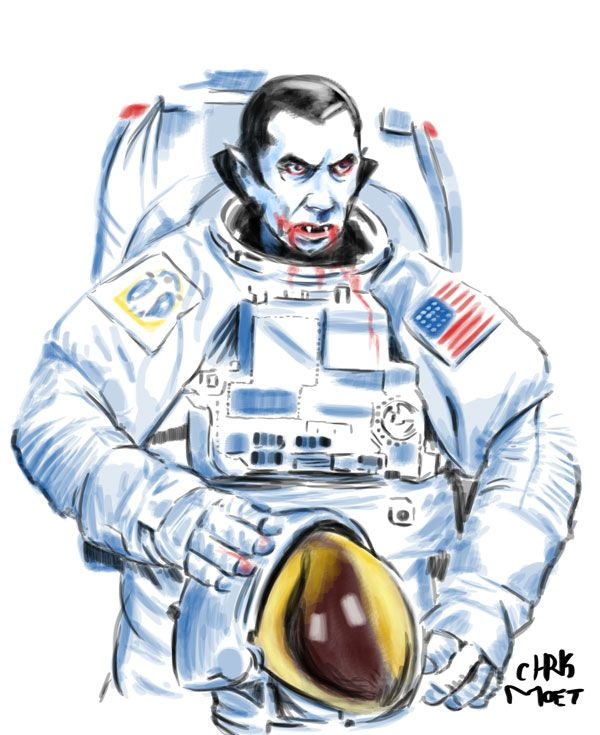 Fantastic Friday: Space Dracula! #Space #Dracula #BelaLugosi #Lugosi #Astronaut #Cosmonaut #Space #Travel #Blood #Vampire #Vampyre #ChrisMoet #Illustrator #Edmonton #Artist #Illustration