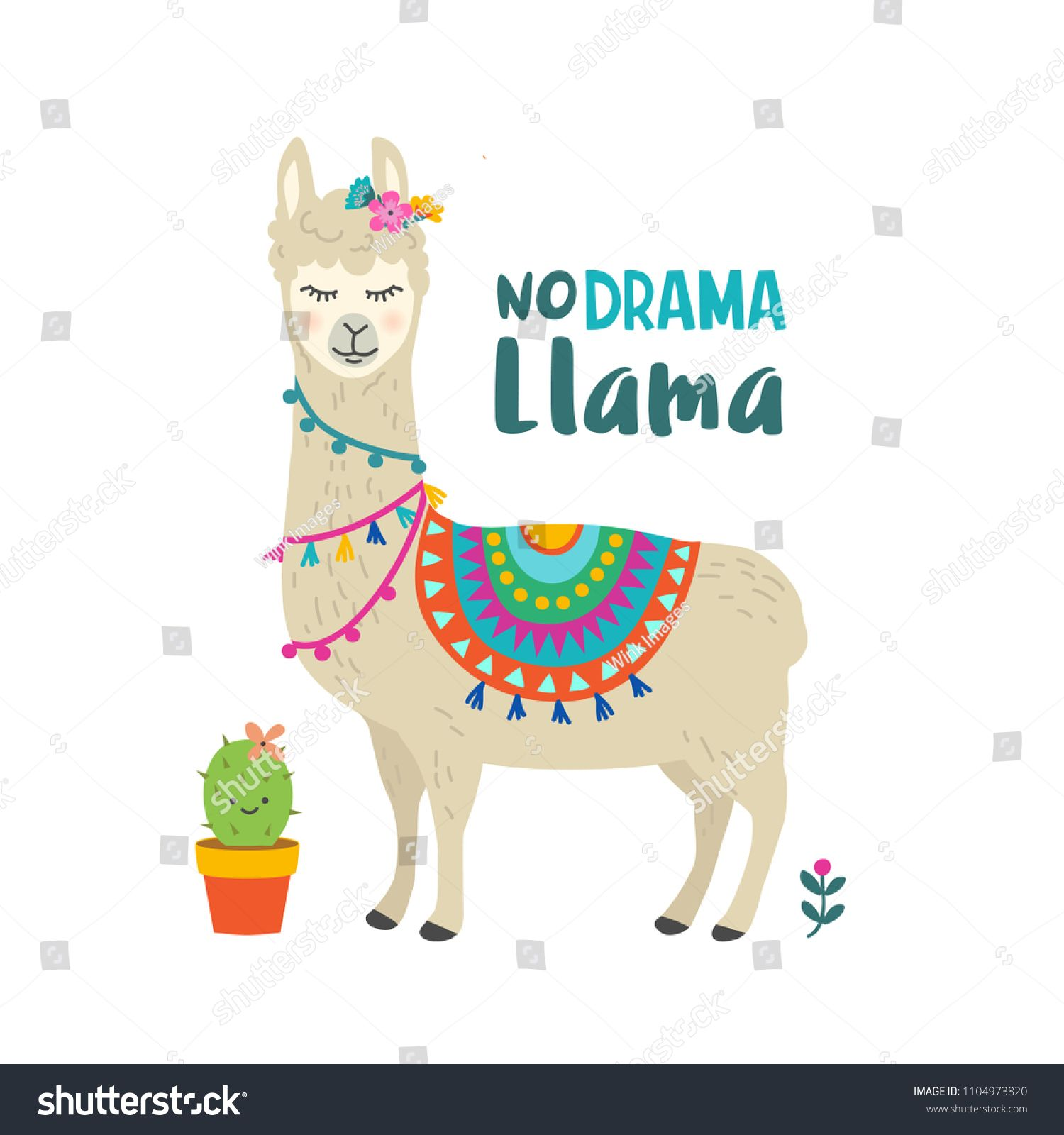 Cute cartoon llama vector design with No drama llama