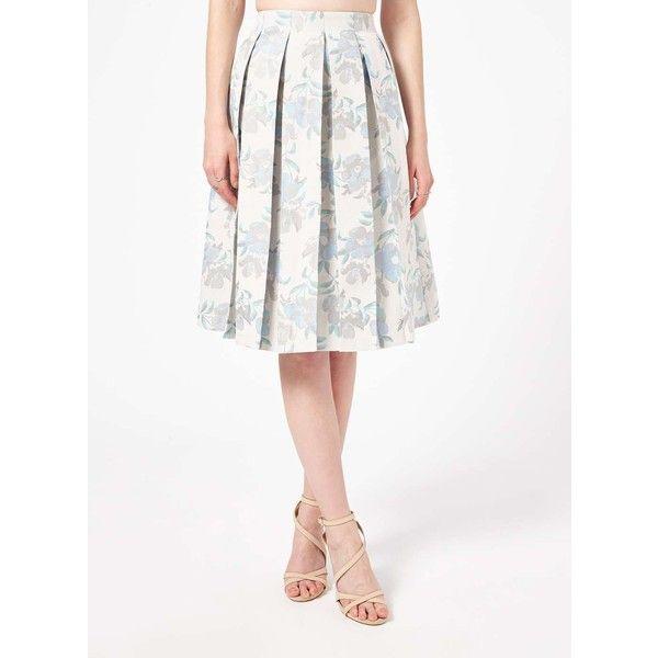 Miss Selfridge Blue Jacquard Midi Skirt (460 ARS) ❤ liked on Polyvore featuring skirts, blue, jacquard midi skirt, white knee length skirt, jacquard skirt, miss selfridge and blue white skirt