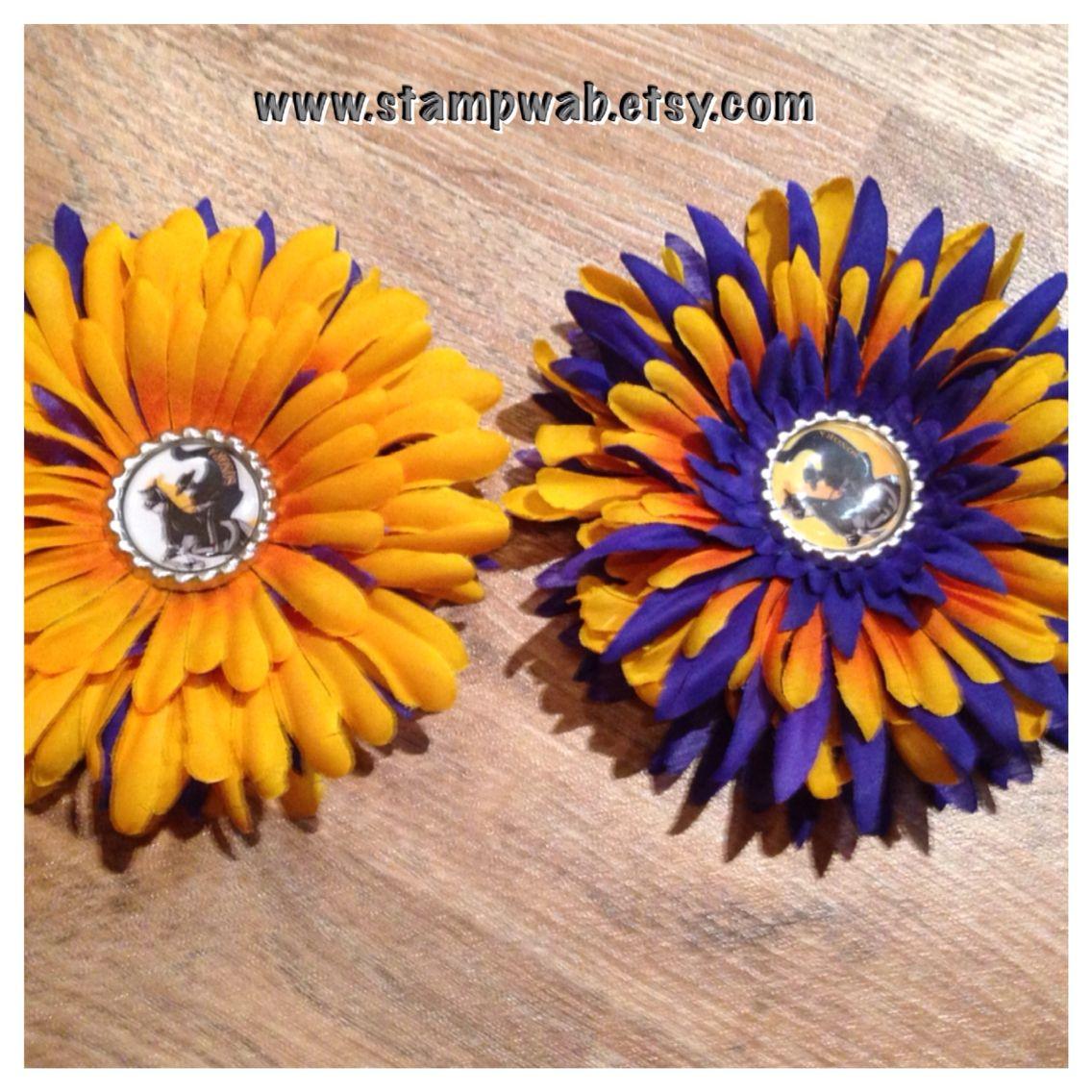 School Spirit flower hair pins www.stampwab.etsy.com