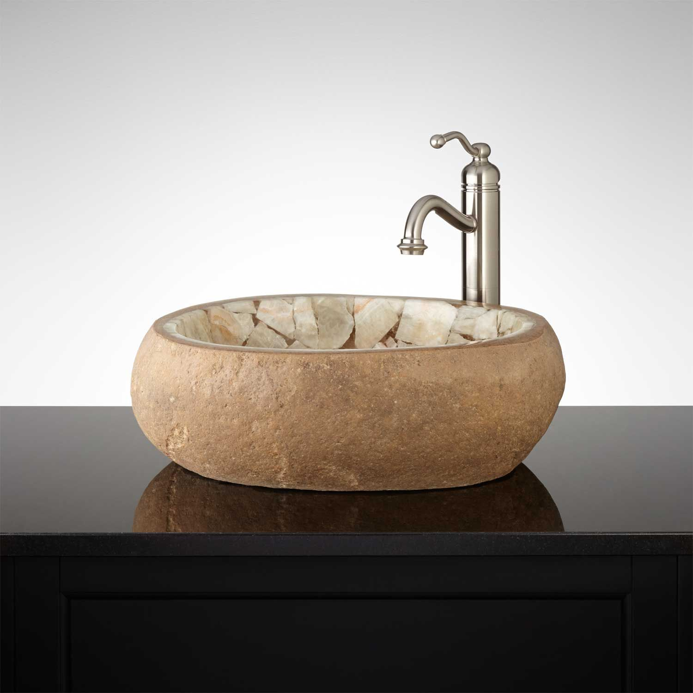 Smithlee honey onyx mosaic river stone vessel sink river stones