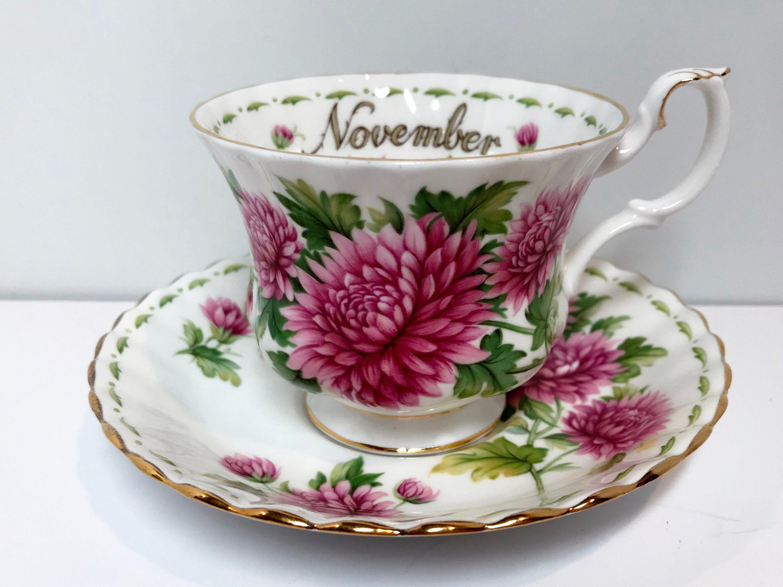 Chrysanthemum November Birthday Cup, Royal Albert Tea Cup