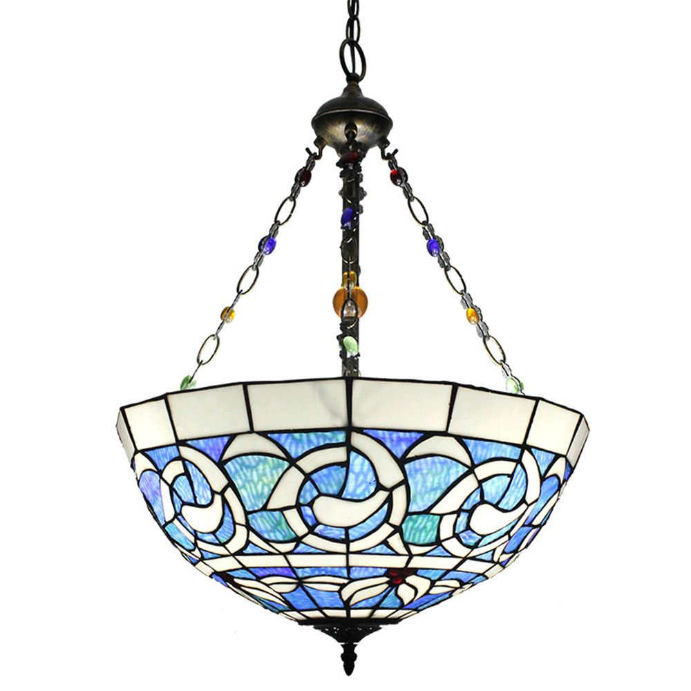 Shop For 16inch European Pastoral Retro Style Chandeliers Multicolor Pattern Glass Shade Be Kitchen Lighting Stained Glass Candle Holders Stained Glass Candles
