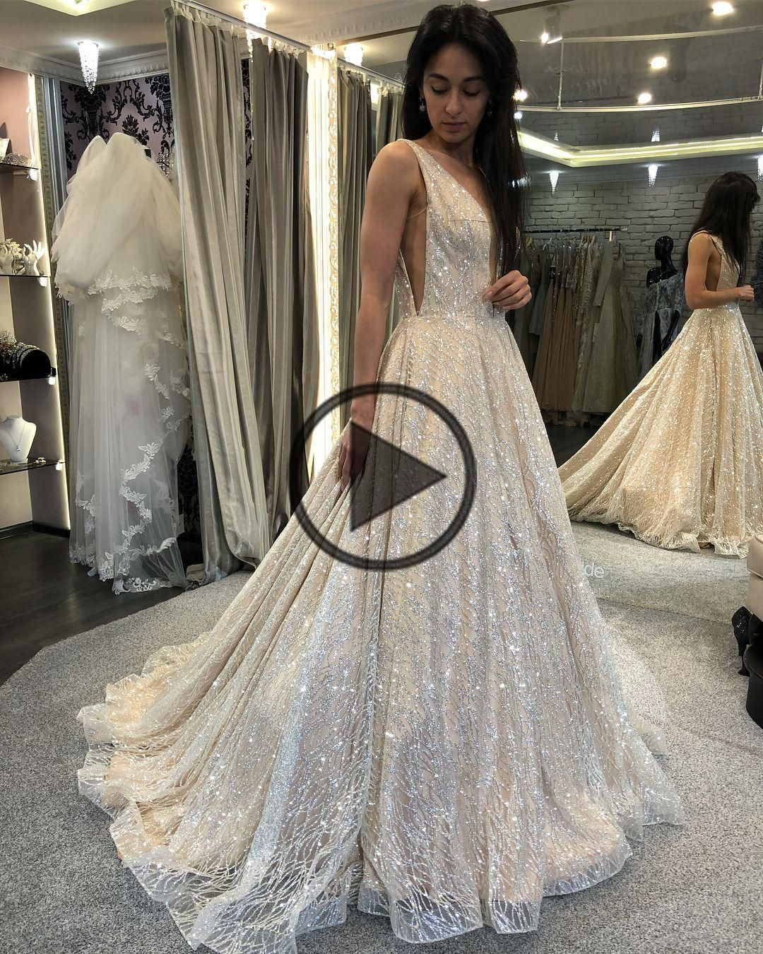 Glitter v neck long ball gown from dreamdressy in 2020