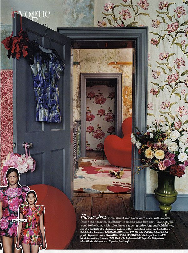 excellent funky wallpaper for house. rooms layered in wallpaper Candy Flower by Marni for The Rug Company  as featured Vogue